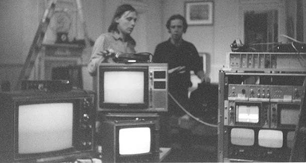 Benjamin Bergery and Jan Crocker prepping a multi-camera system from MIT Film/Video