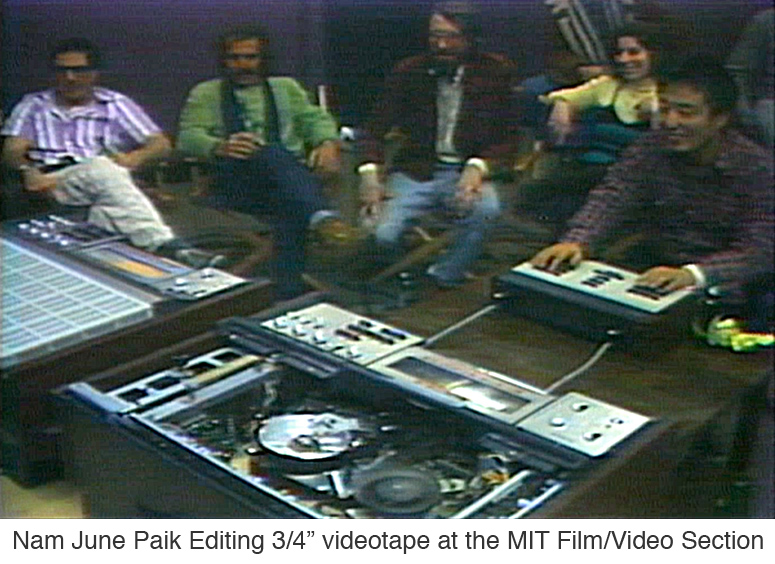 Nam June Paik editing 3-4 inch videotape at the MIT Film-Video Section